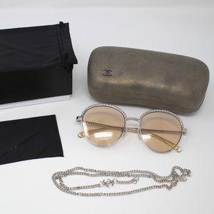 Chanel Pantos Sunglasses - Silver/Light Brown Lens